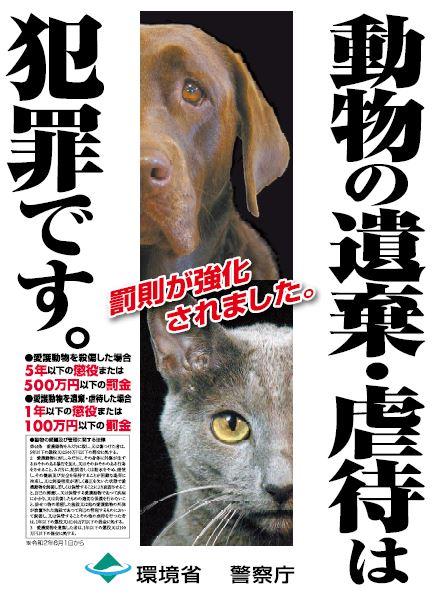 動物の遺棄や虐待は犯罪です